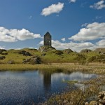 Smailholm Tower from mill pond landscape shot